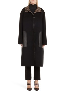 Fendi Leather Pocket Reversible FF Wool & Silk Coat