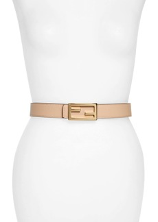 Fendi Logo Buckle Reversible Calfskin Leather Belt