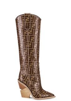 Fendi Logo Cowboy Boots