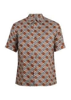 Fendi Logo damier-print silk shirt