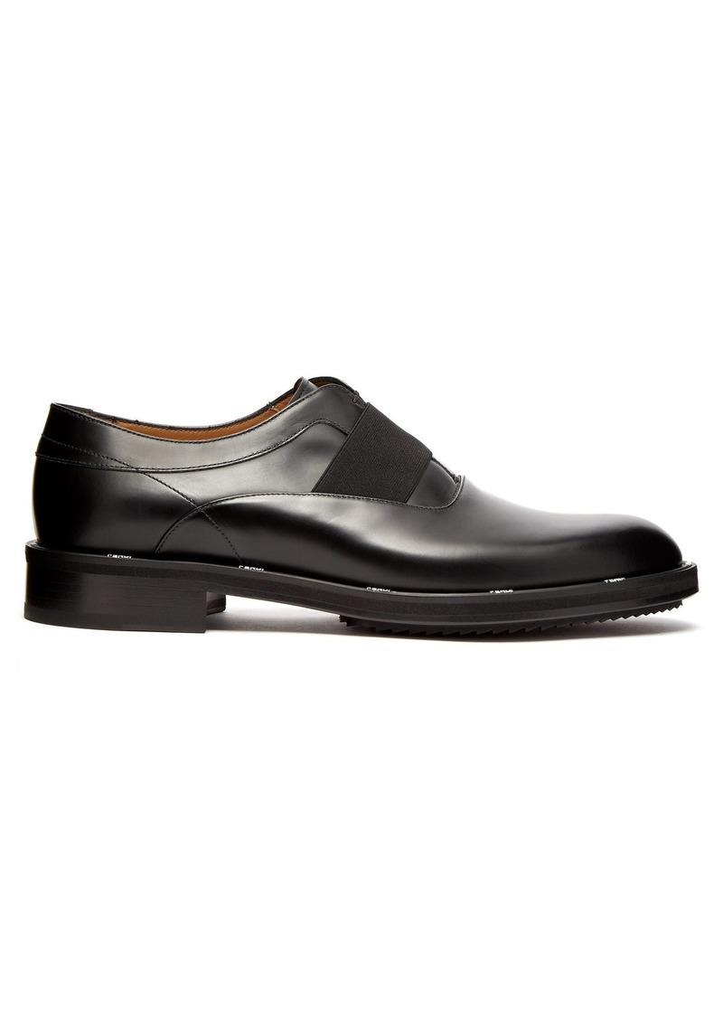 Fendi Logo-edged leather oxford shoes