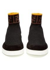 Fendi Logo-embellished high-top sock trainers