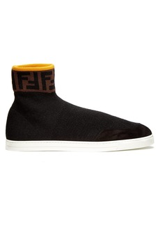 Fendi Logo-embellished high-top sock trainers