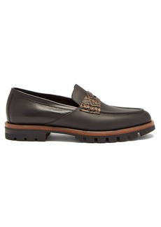 Fendi Logo-embellished leather penny loafers