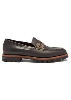Fendi Logo-embellished leather penny loafers