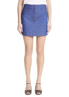 Fendi Logo Embossed Denim Skirt