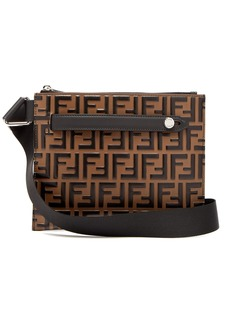 Fendi Logo-embossed leather messenger bag