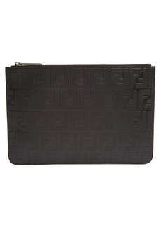 Fendi Logo-embossed leather pouch