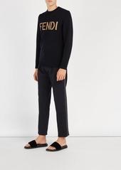 Fendi Logo-embossed velvet slides