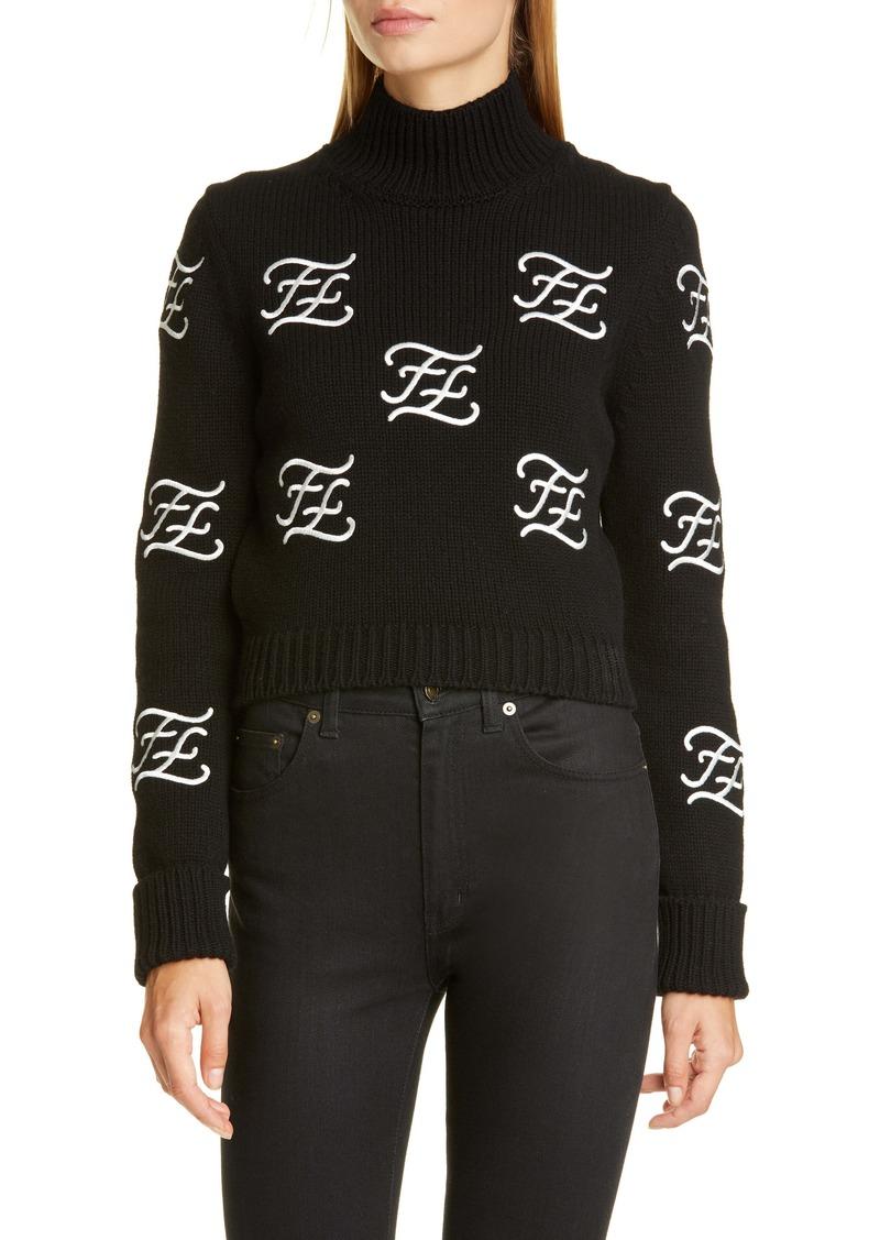 Fendi Logo Embroidered Crop Wool & Cashmere Sweater