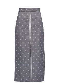 Fendi Logo-embroidered slit denim midi skirt