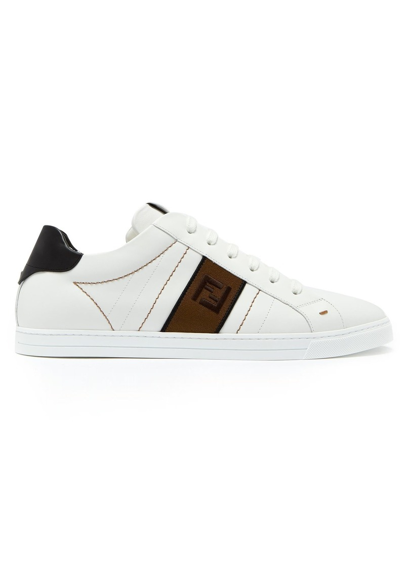 Fendi Logo-embroidered low-top leather trainers