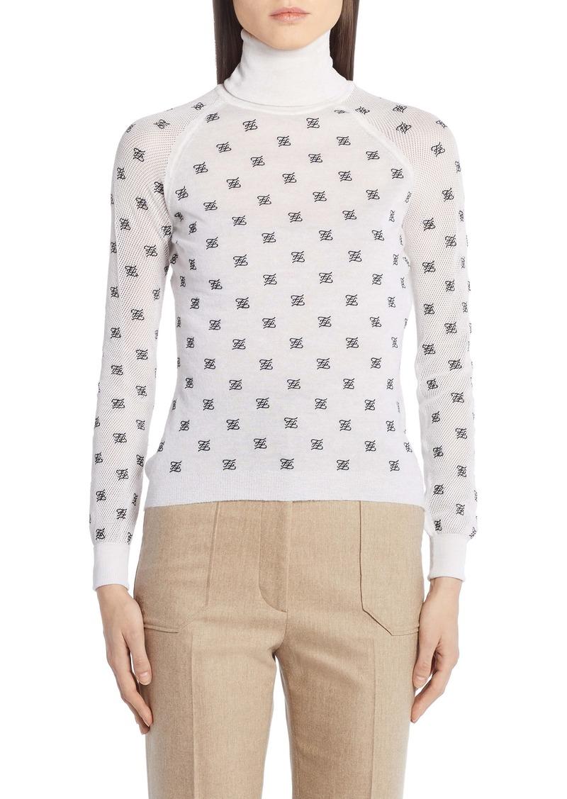 Fendi Logo Embroidered Mesh Sleeve Wool, Silk & Cashmere Sweater