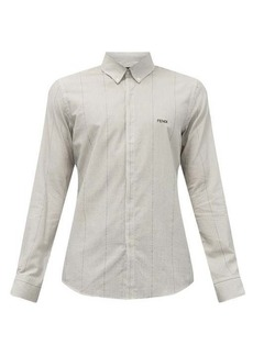 Fendi Logo-embroidered pinstriped cotton-poplin shirt