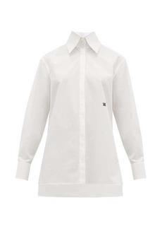 Fendi Logo-embroidered point-collar cotton-poplin shirt