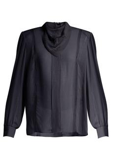 Fendi Logo-embroidered voile blouse