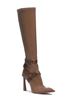 Fendi Logo Harness Pointy Toe Knee High Boot (Women)