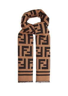 Fendi Logo-intarsia wool and silk blend scarf