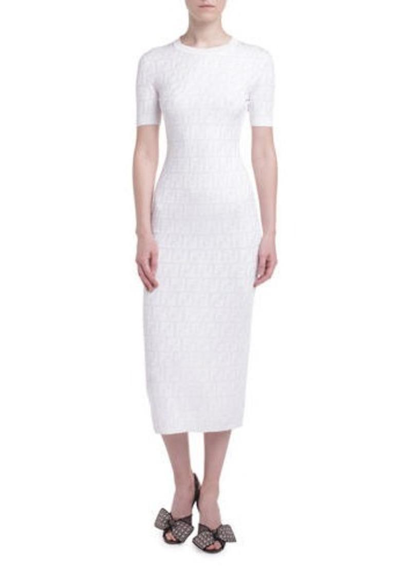 Fendi Logo-Jacquard 1/2-Sleeve Bodycon Dress