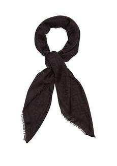 Fendi Logo-jacquard fringed scarf