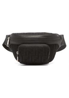 Fendi Logo-jacquard leather-trimmed mesh belt bag