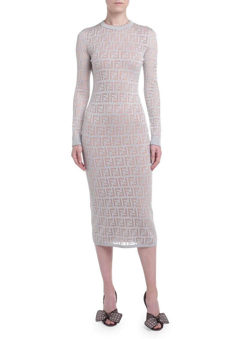 Fendi Logo-Jacquard Long-Sleeve Bodycon Dress