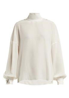 Fendi Logo-jacquard silk crepe de Chine blouse