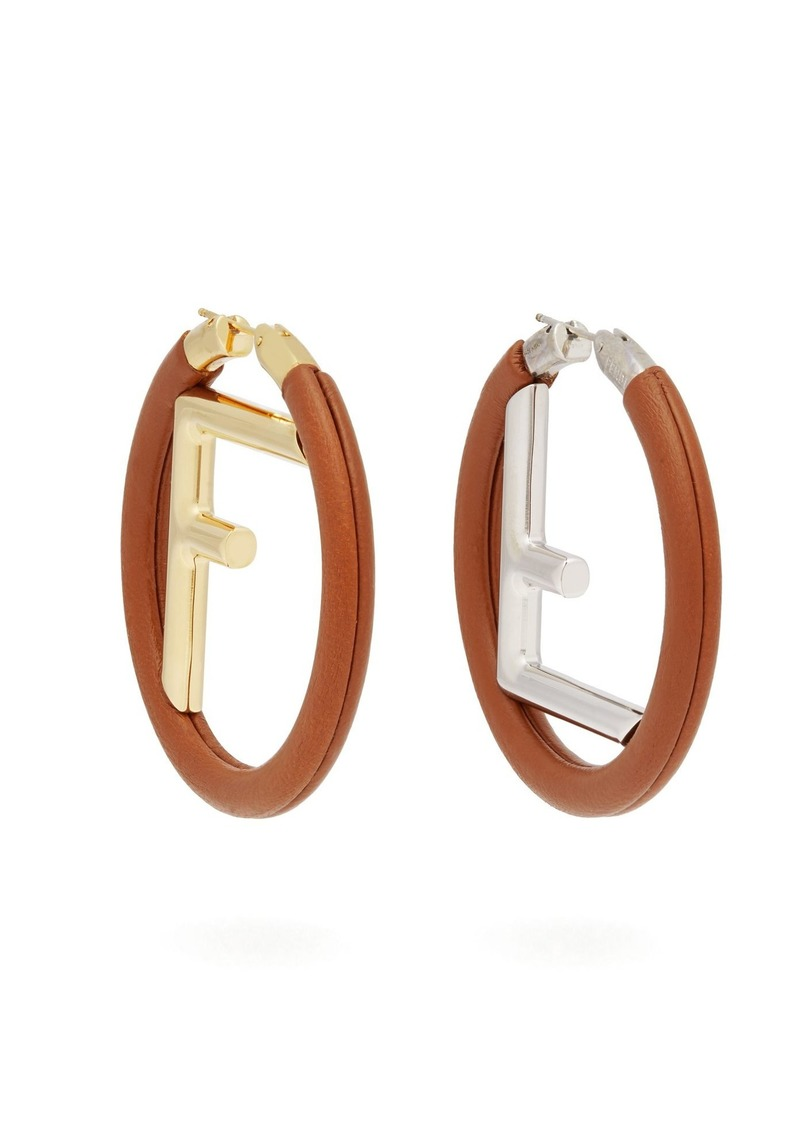 Fendi Logo Leather Hoop Earrings