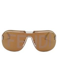 Fendi Logo-lens mask metal sunglasses