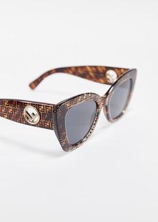 Fendi Logo Narrow Cat Eye Sunglasses
