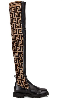 Fendi Logo Over the Knee Boots