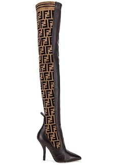 Fendi Logo Over the Knee Heel Boots