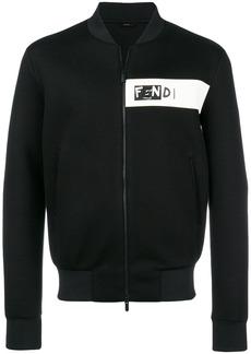 Fendi logo patch bomber jacket - Black