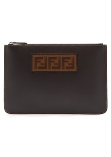 Fendi Logo-patch leather pouch