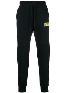 Fendi logo patch track trousers - Black