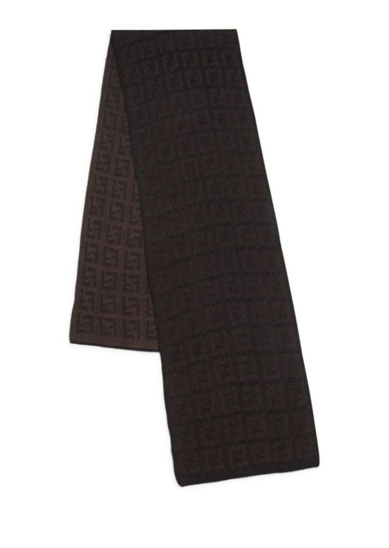 Fendi Logo Patterned Wool Scarf