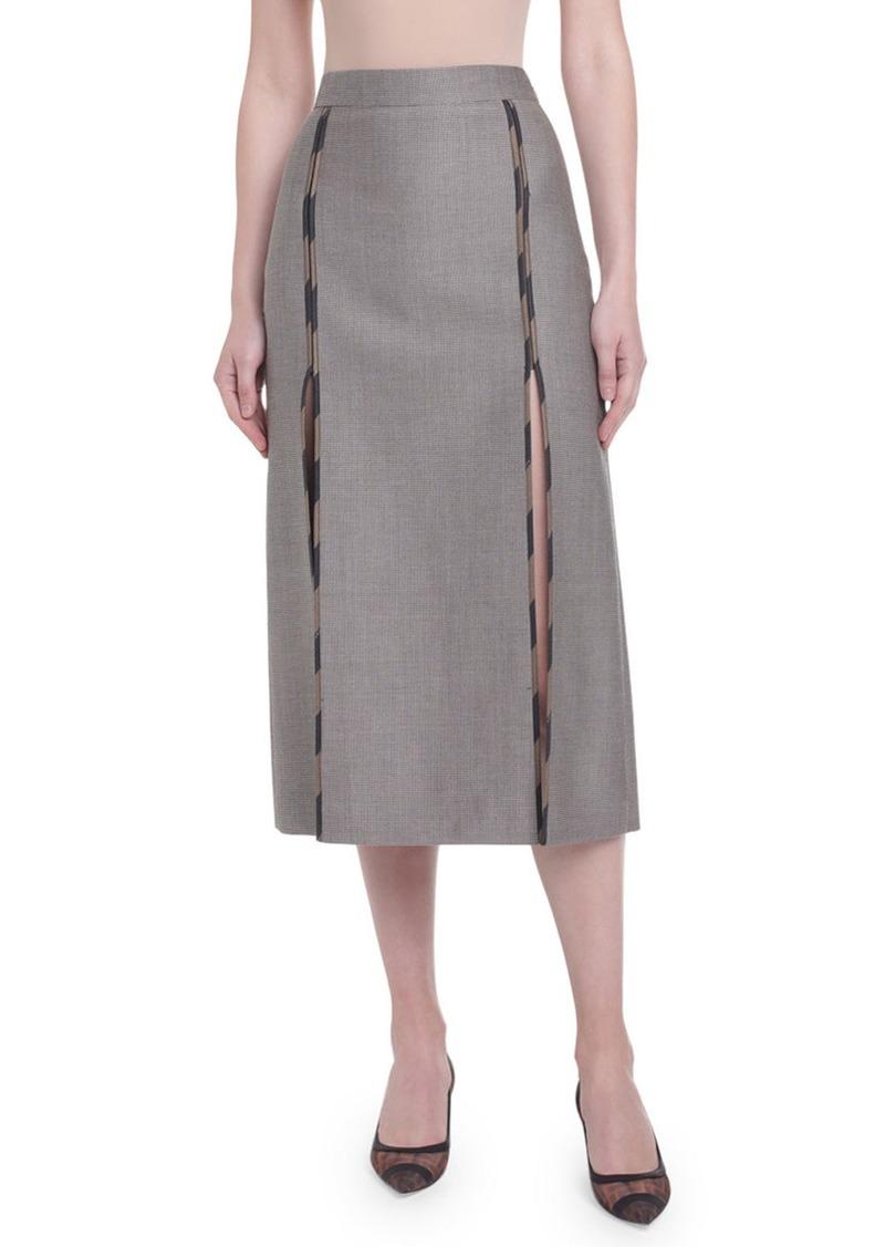 Fendi Logo-Piped Menswear Pencil Skirt
