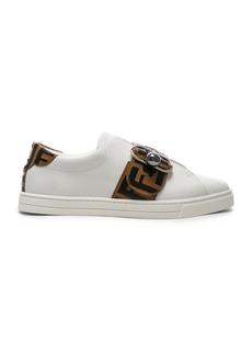 Fendi Logo Print Buckle Strap Sneakers