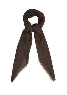 Fendi Logo-print cotton-blend scarf