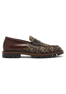 Fendi Logo-print leather penny loafers
