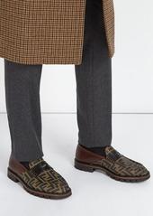 Fendi Logo-print leather penny loafers