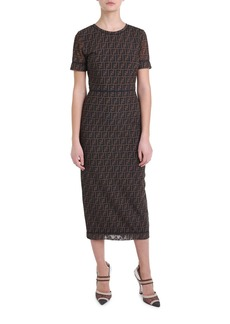 Fendi Logo-Print Mesh Midi Dress