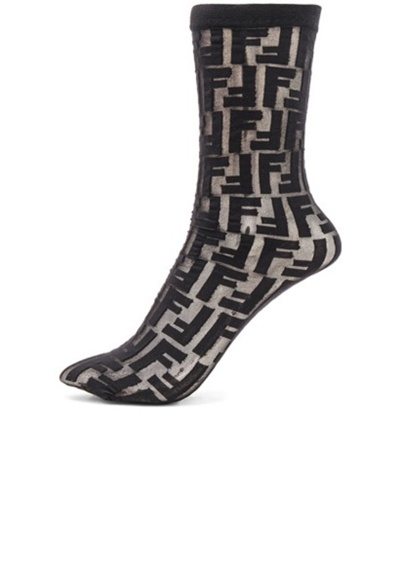 34cc6159b1e84 Fendi Fendi Logo Print Nylon Socks | Misc Accessories