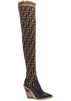 Fendi Logo Print Sock Boots