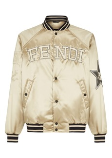 Fendi Logo Satin Bomber Jacket