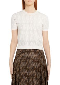 Fendi Logo Short Sleeve Sweater