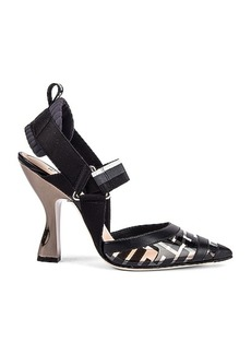 Fendi Logo Slingback Heels