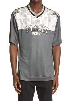 Fendi Logo Star Mesh Yoke T-Shirt