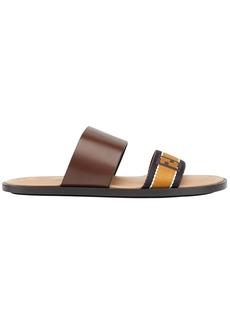 Fendi logo strap sandals - Brown