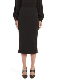 Fendi Logo Stripe Jersey Pencil Skirt